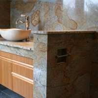 Granite Vanity Full Height Backsplash with Vessel Sink