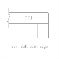 2cm butt joint edge