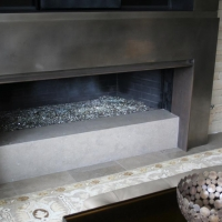Quartz CaesarStone Hearth Fireplace by Stone Center, Inc