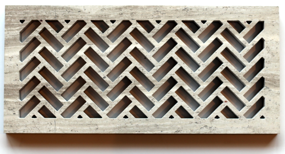 herringbone marble heat register cover