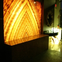 Backlit Onyx Wall by Stone Center, Inc