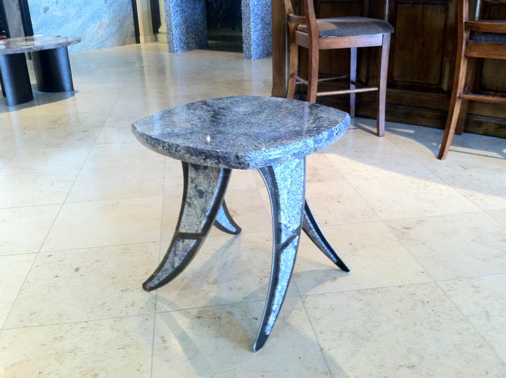 Blue Bahia Granite Steel Table by Stone Center, Inc