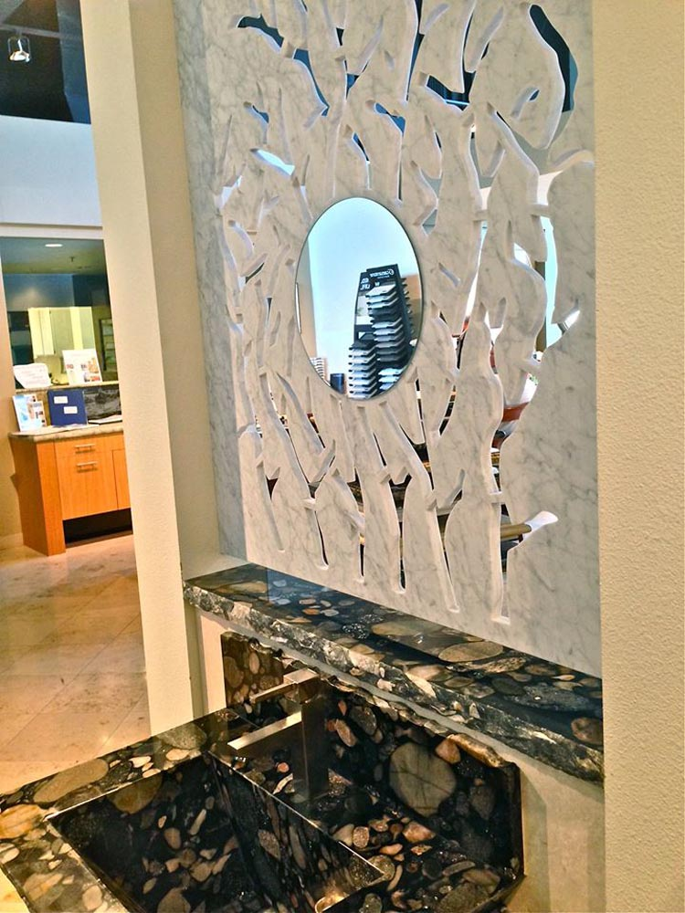 Carrara Marble Vanity Mirror by Stone Center, Inc