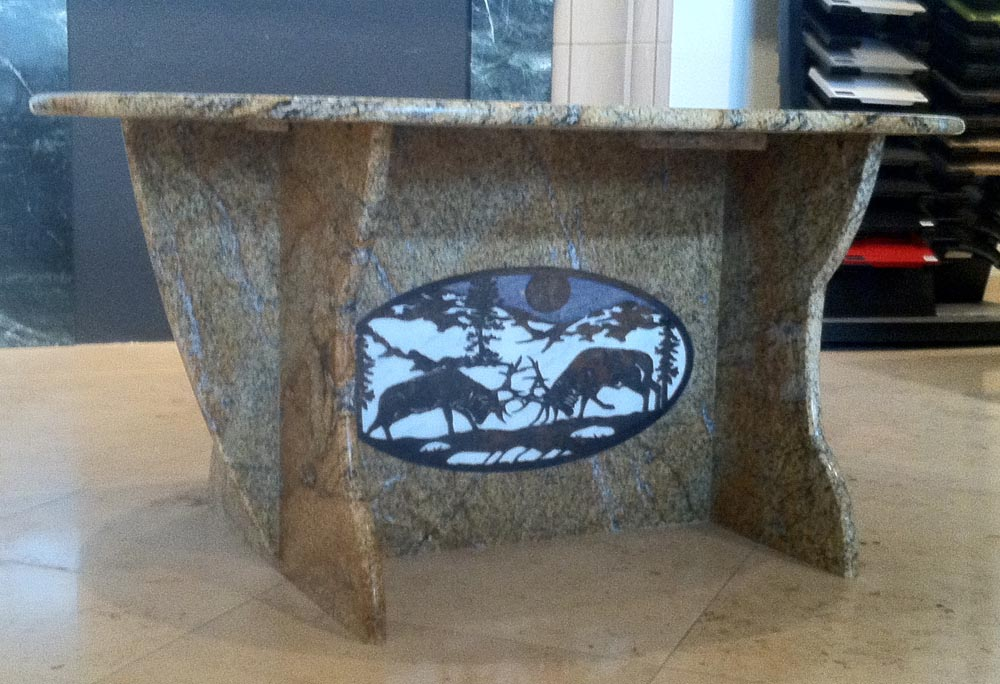 Waterjet Granite Steel Coffee Table by Stone Center, Inc