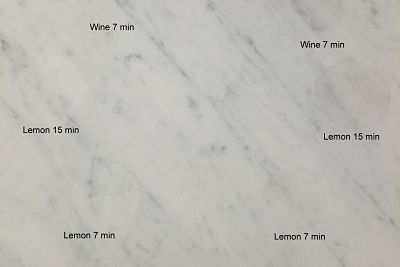 Etching On Carrara Marble Tile From Above