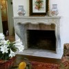 installed cast stone fireplace